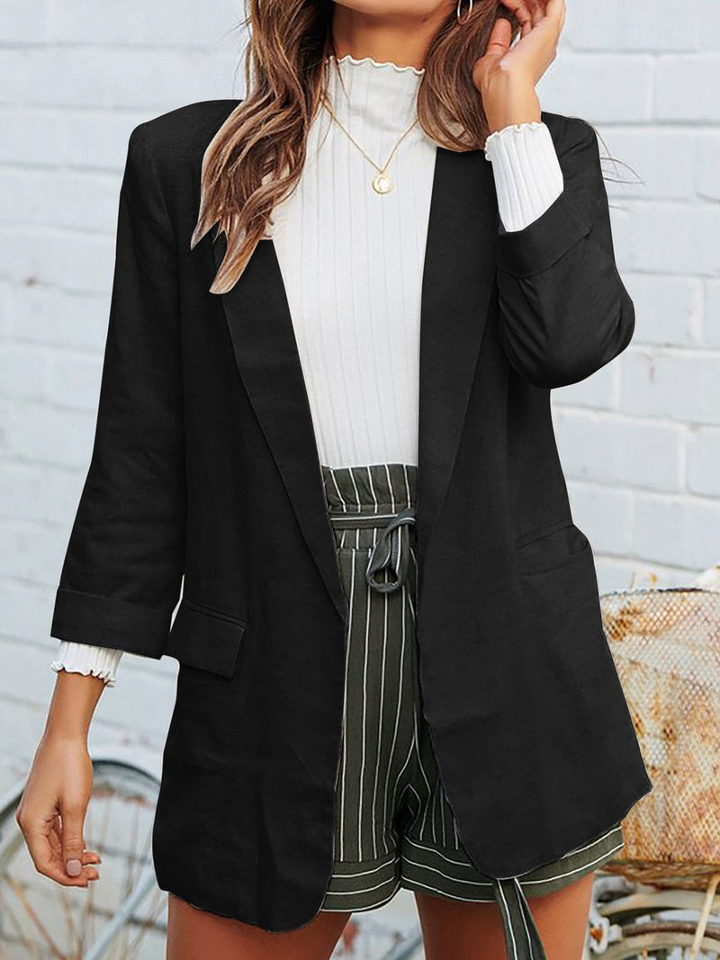 Vintage Solid Long Sleeve Pockets Coat