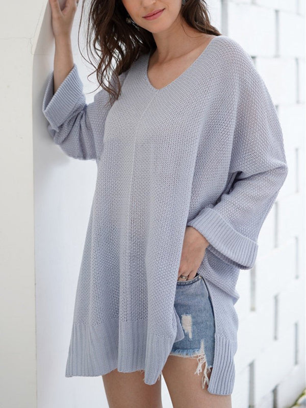 Casual Knitted Plain V-neck Long Sleeve Sweater