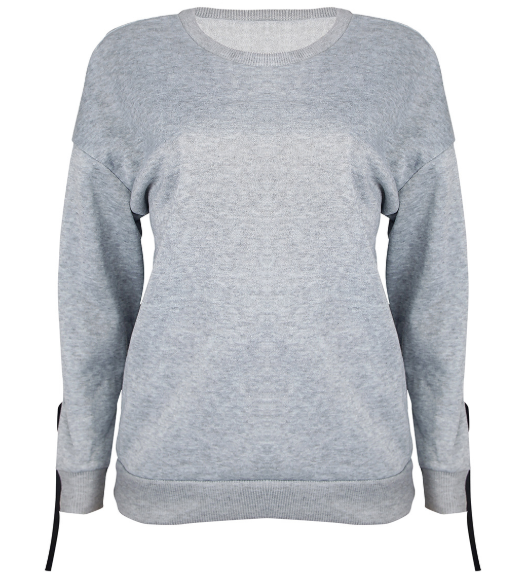 Gray Linen Casual Long Sleeve Plain Sweaters