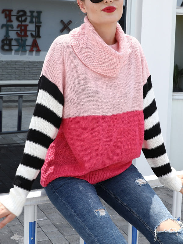 Knitted Long Sleeve Striped Sweater