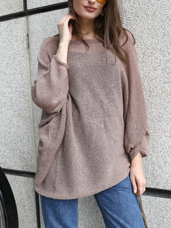 Casual Knitted Solid Sweater