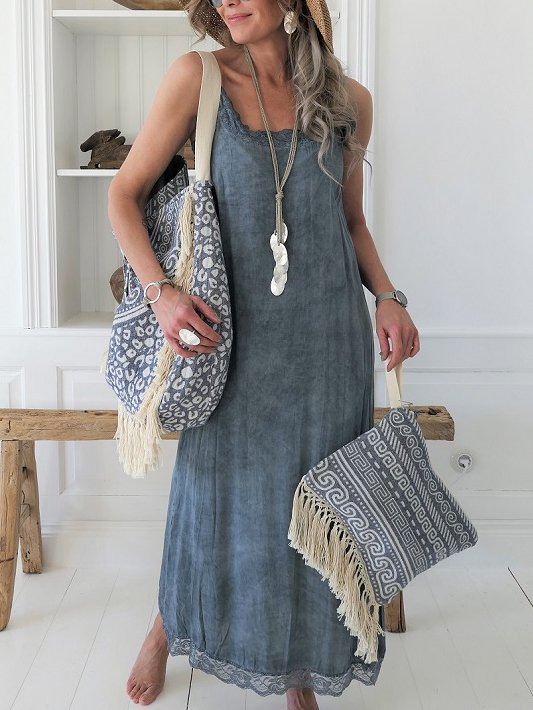 Casual Cotton-Blend Sleeveless Dress