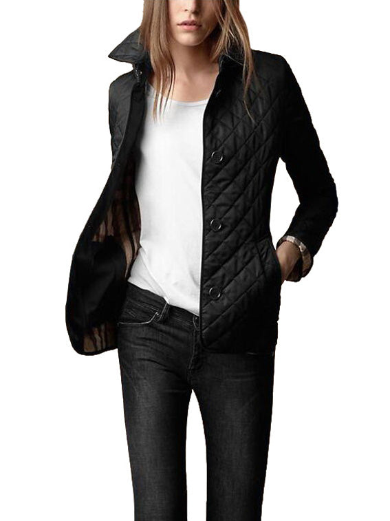Single Breasted Lapel Quilted Plaid Cotton-padded Jacket