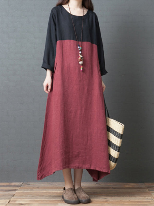 Round Neck Loose Casual Hit Color Spring Midi Long Dress