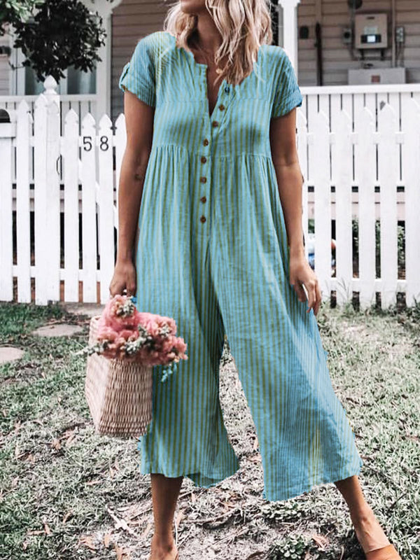 Casual Short Sleeve Buttoned Striped Jumpsuits