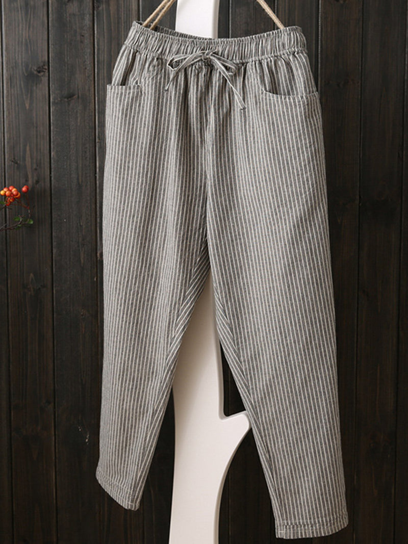 Striped Printed Casual Linen  Pants