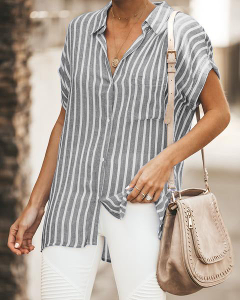 Short Sleeve Linen Striped Blouse