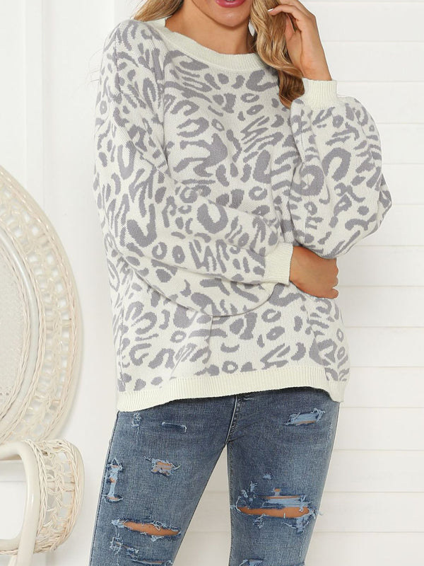 Printed Long Sleeve Crew Neck Casual Knitted Sweaters