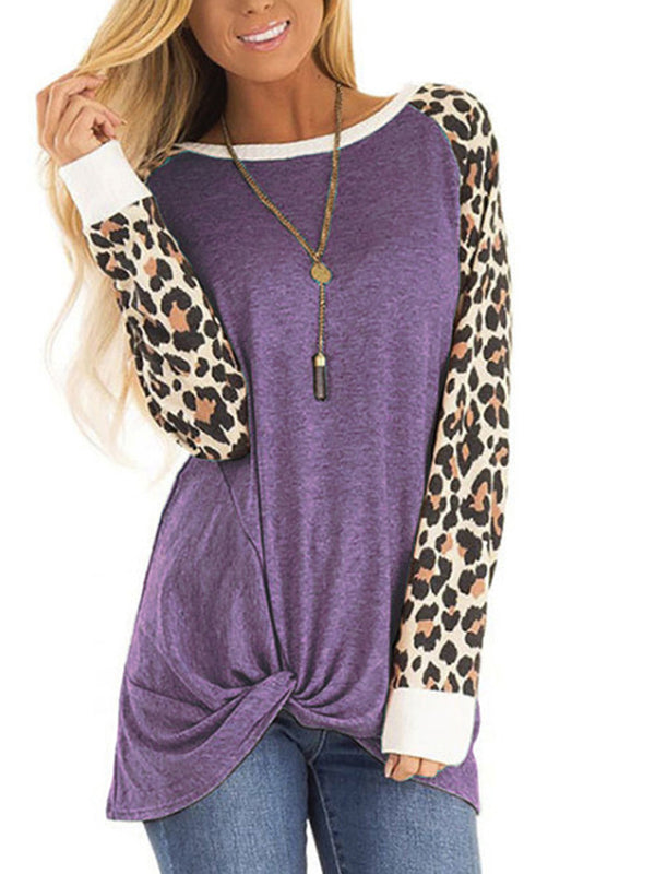 Casual Paneled Leopard Print Cotton-Blend T-Shirts