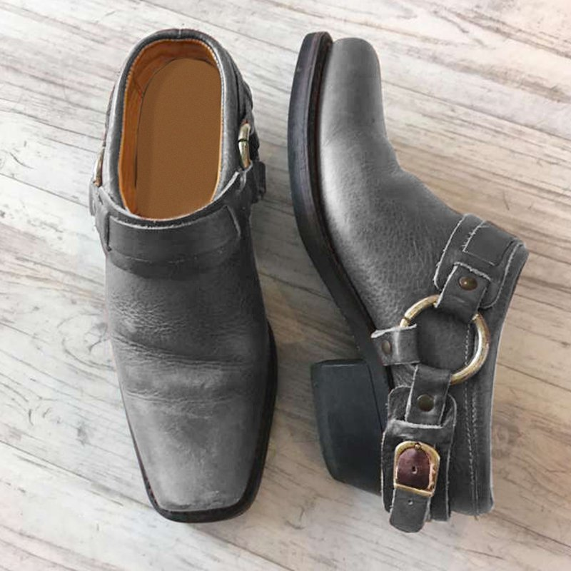 Metal buckle square head Muller shoes
