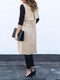 Lapel Plain Casual Cotton-blend Trench Coat