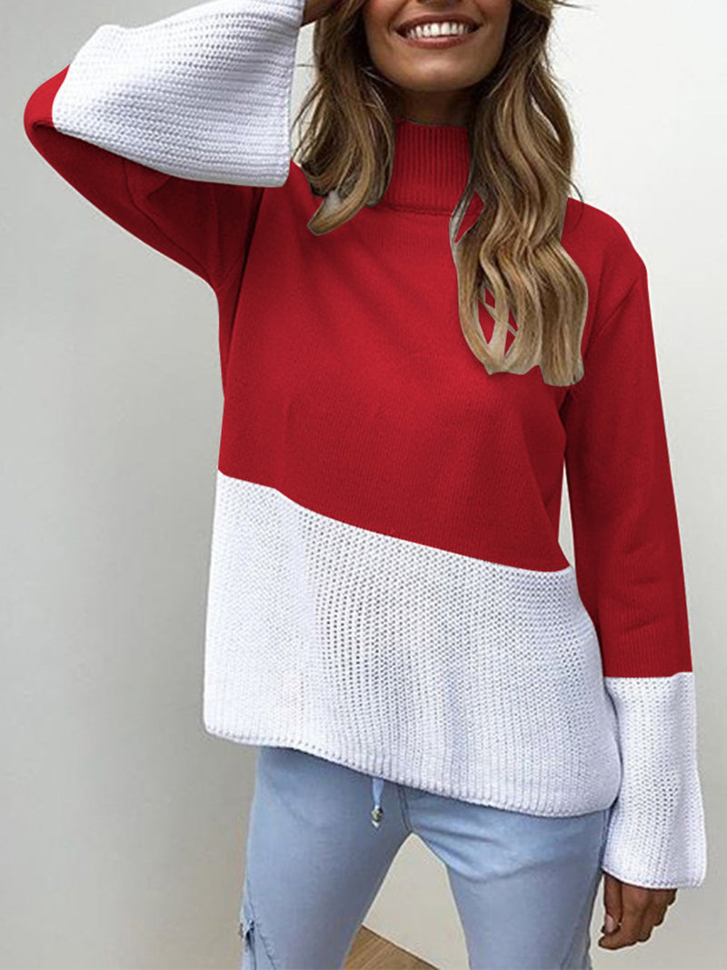 Red Solid Elegant Color-block Knitted Sweater
