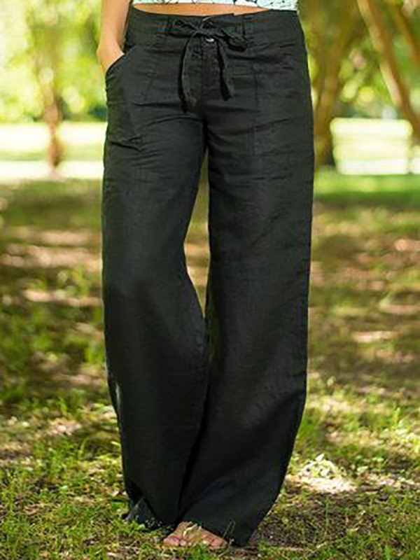 Cotton-Blend Pockets Solid Pants