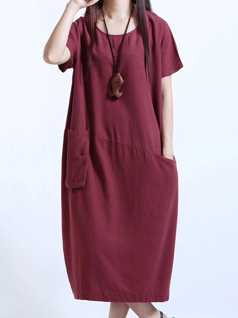 Solid Short Sleeve Crew Neck Pockets Linen Casual Dress