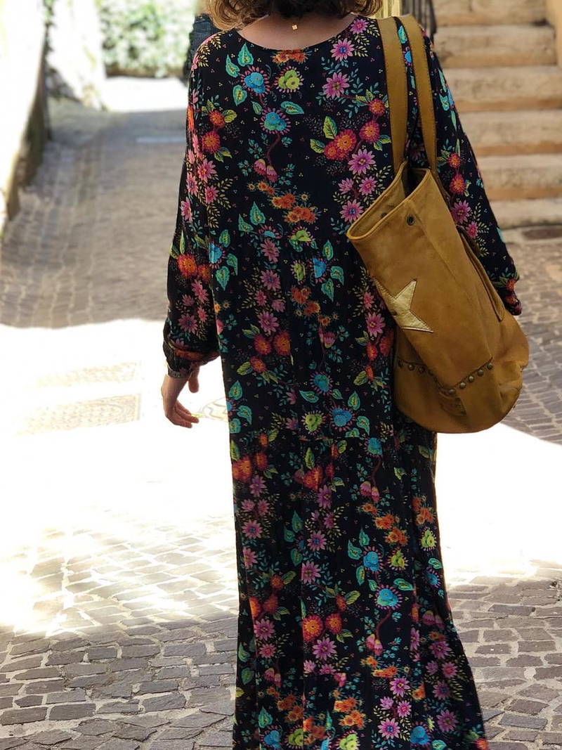 Black Cotton-Blend Floral Boho V Neck Dresses