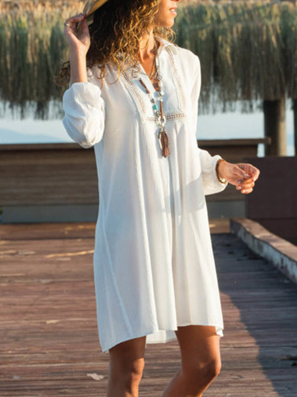 Casual Shawl Collar Dress