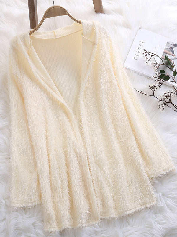 Casual Hoodie Plain Long Sleeve Pockets Cardigan