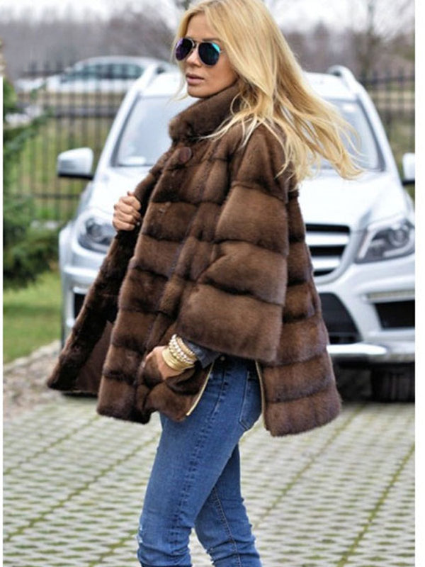 Stand Collar Brown Faux Fur Plain Women Coat