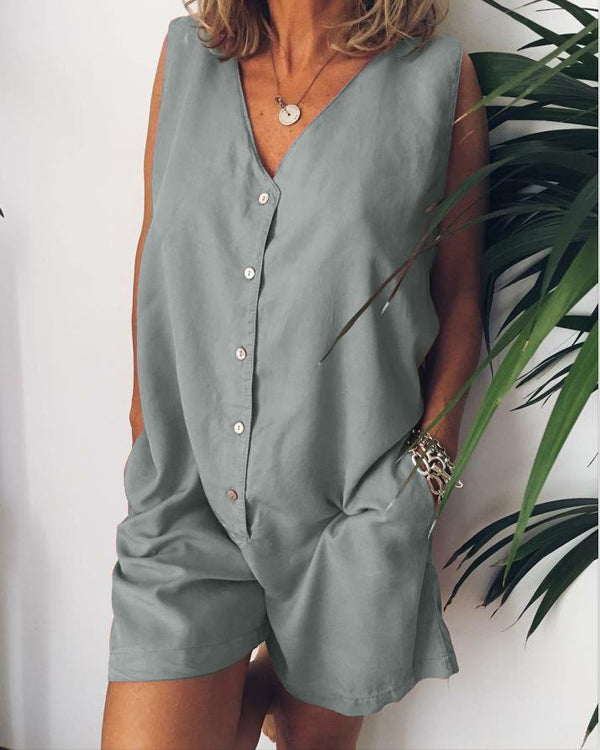 Plus Size Casual V Neck Solid Sleeveless Pockets Jumpsuits