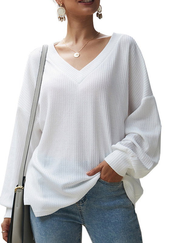 Long Sleeve Solid Casual Knitted T-Shirts