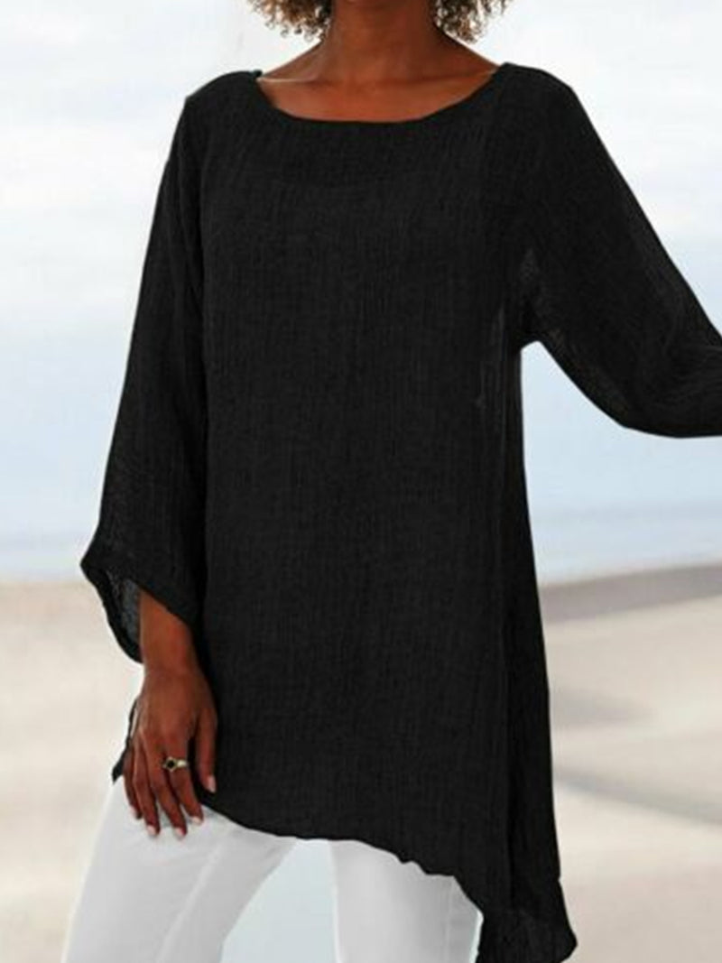 Long Sleeve Square Neck Casual Blouse