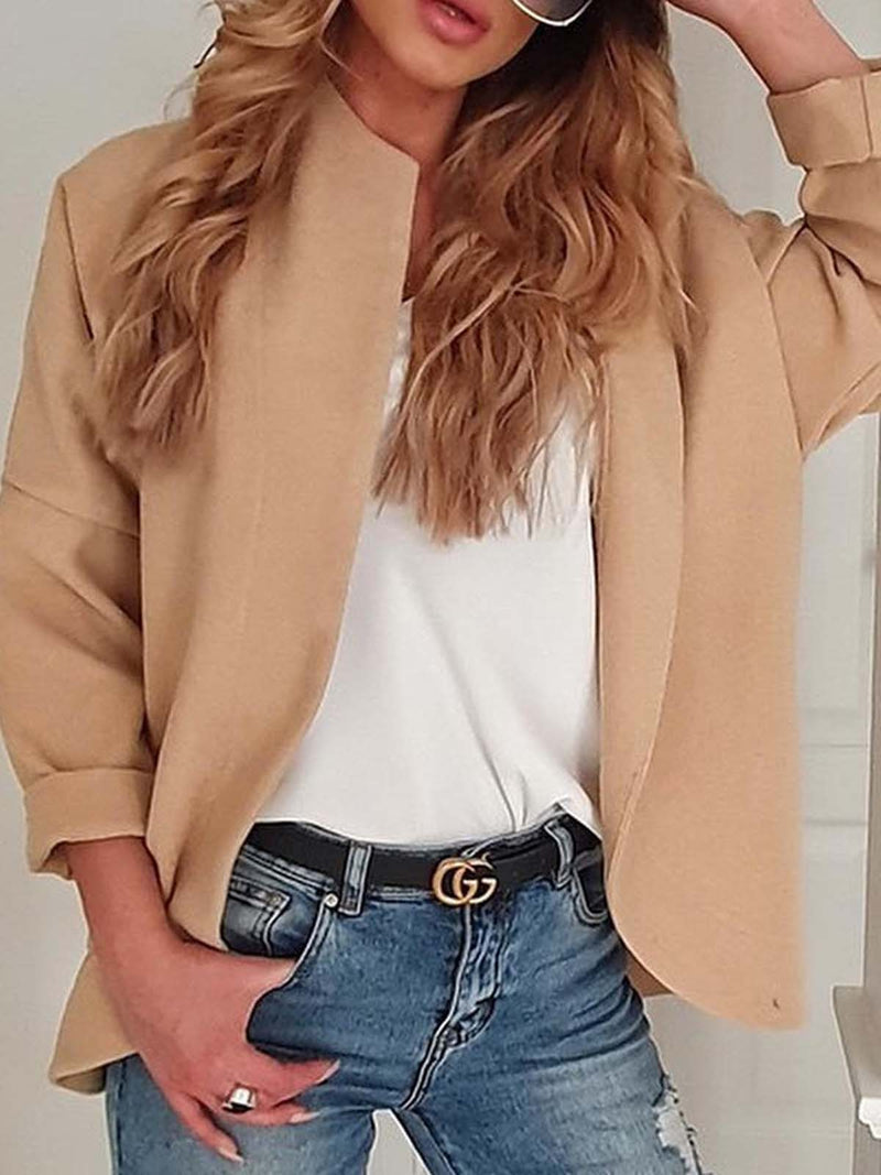 Casual Long Sleeve Solid Outerwear