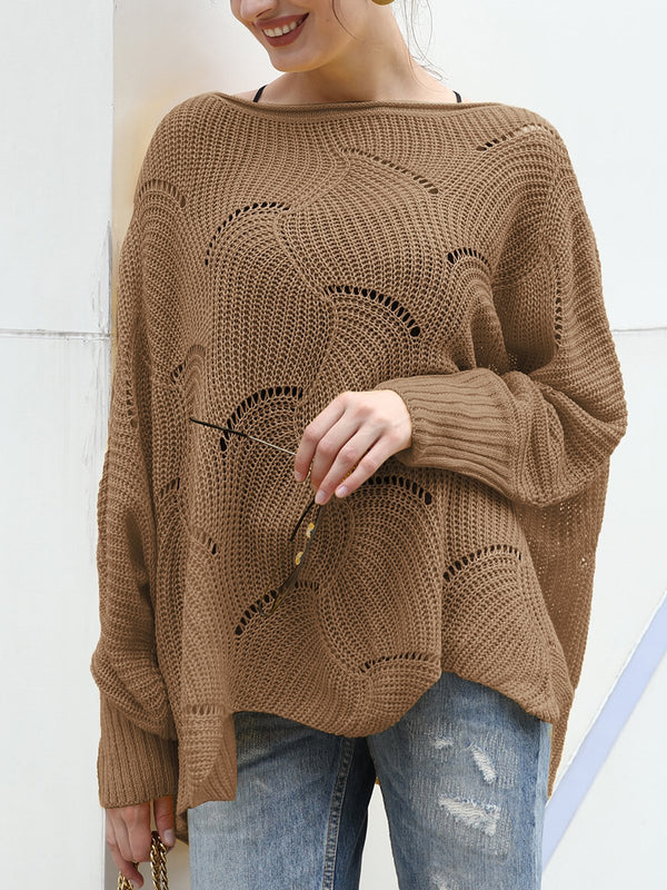 Crew Neck Knitted Solid Casual Sweater