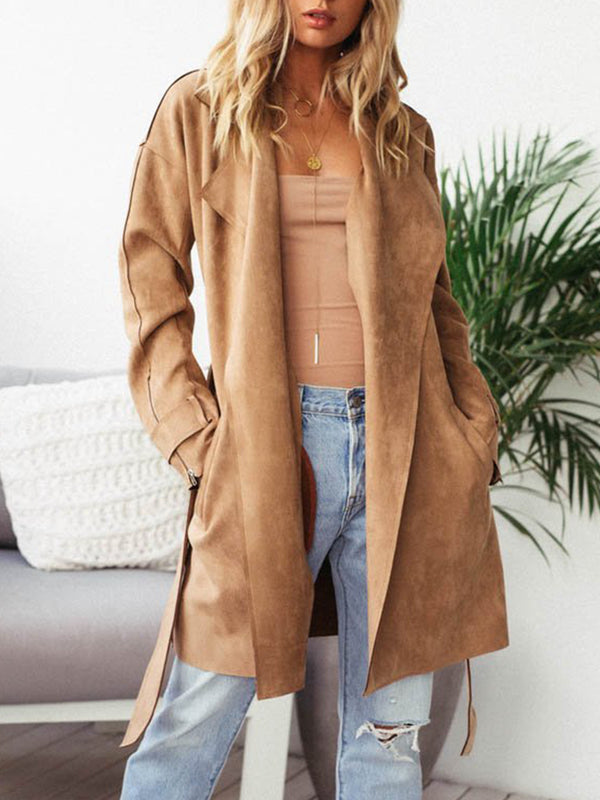 Khaki Elegant Paneled Pu Plain Coat