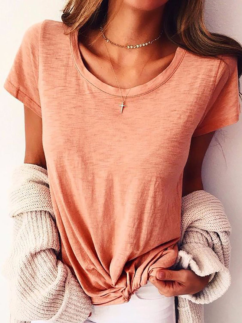 Casual Solid Short Sleeve Blouse