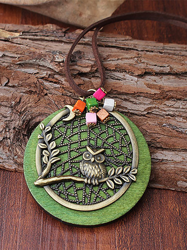 Green Owl Alloy Necklace