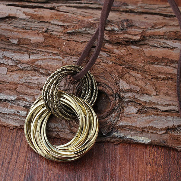 Gold Alloy Double Rings Necklace