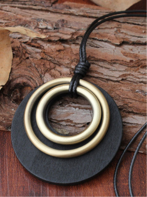 Black Three Round Rings Alloy Women Necklace