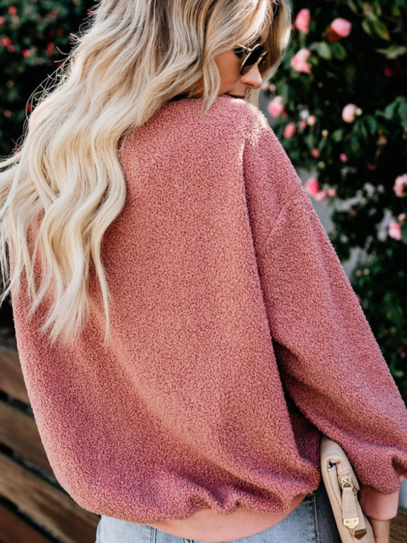 Casual Plain Crew Neck Faux Fur Sweatershirt
