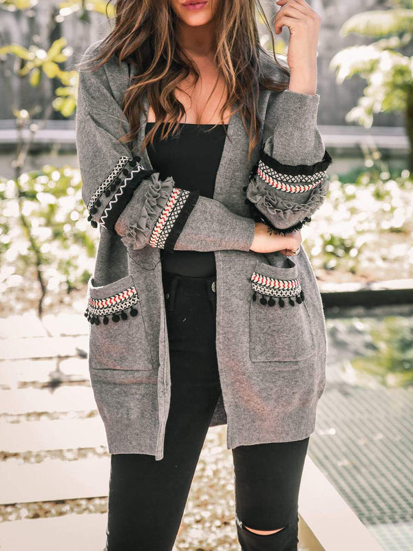 Solid Knitted Long Sleeve Intarsia Pockets Cardigan