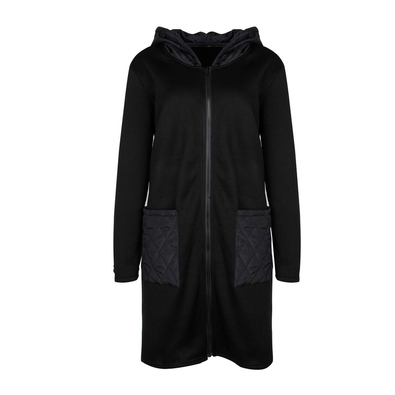 Hooded Color Patch Pocket Coat
