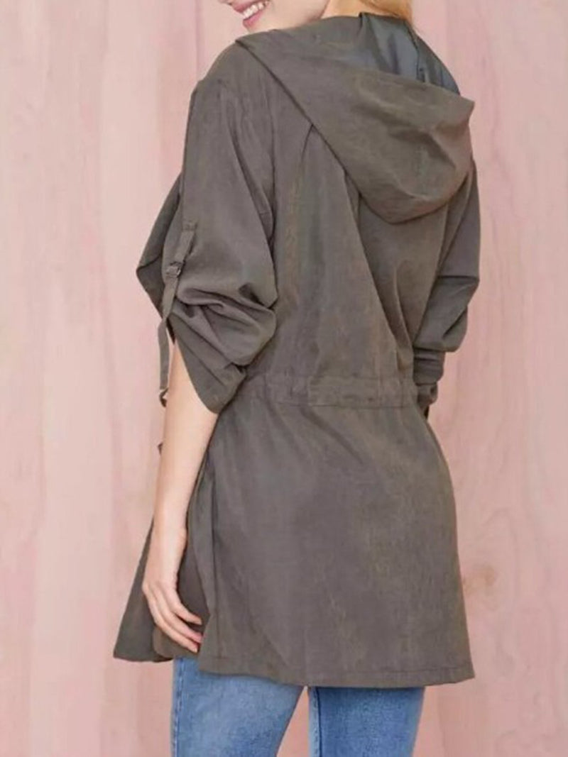 Long Sleeve Pockets A-line Cotton-blend Casual Trench Coat