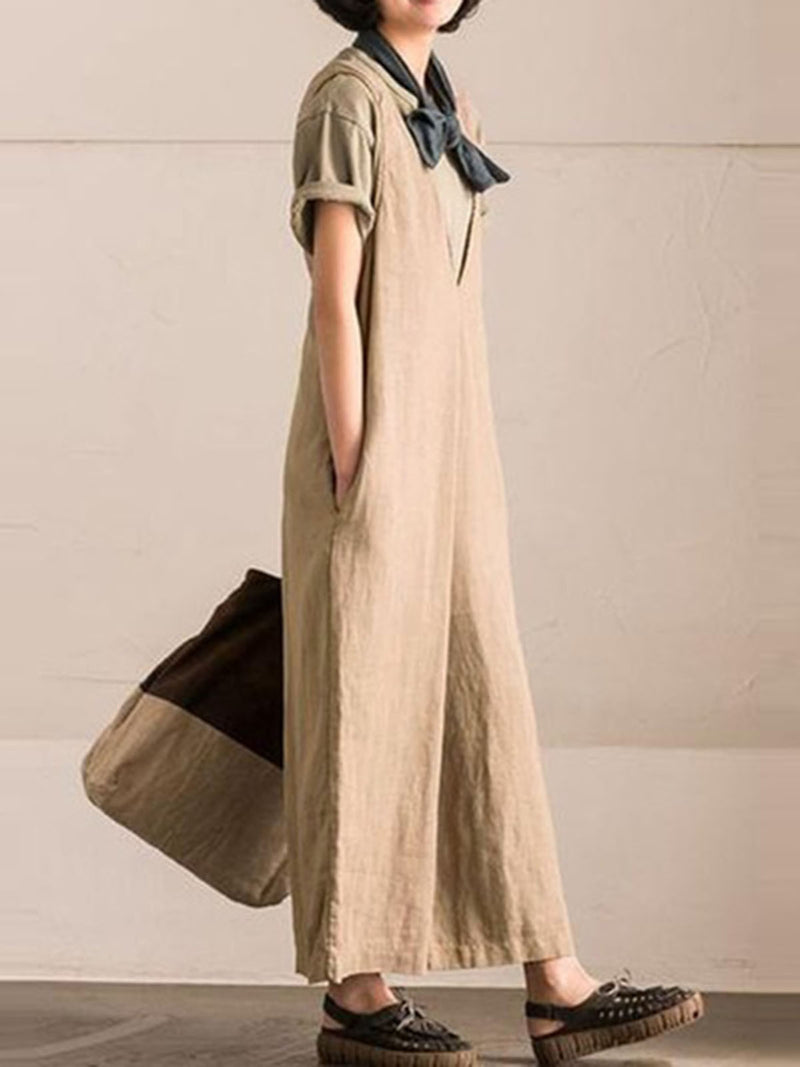 Over Sized Sleeveless Suspenders Wide Leg Jumpsuits