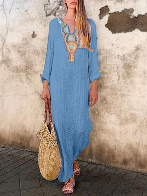 V Neck Long Sleeve Vintage Maxi Dress