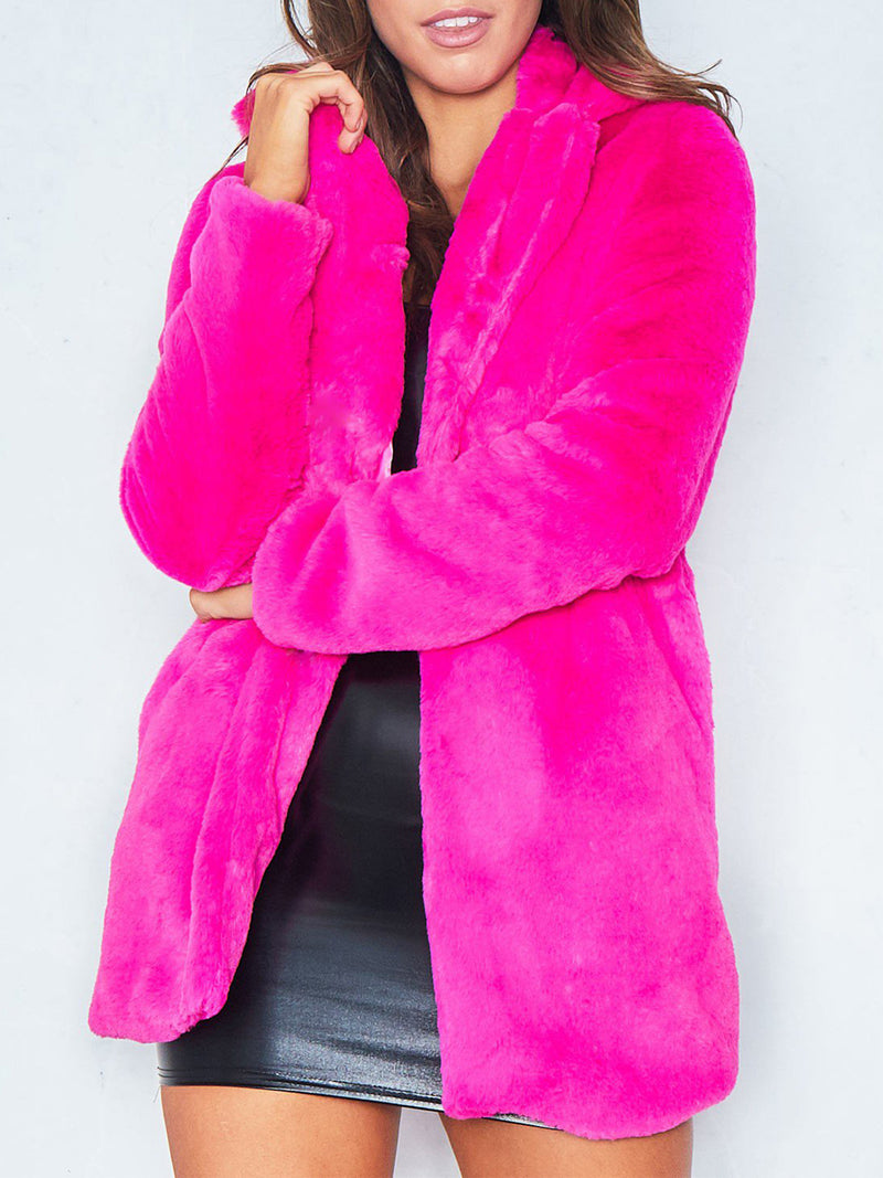 Winter Faux Fur Lapel Color Coat
