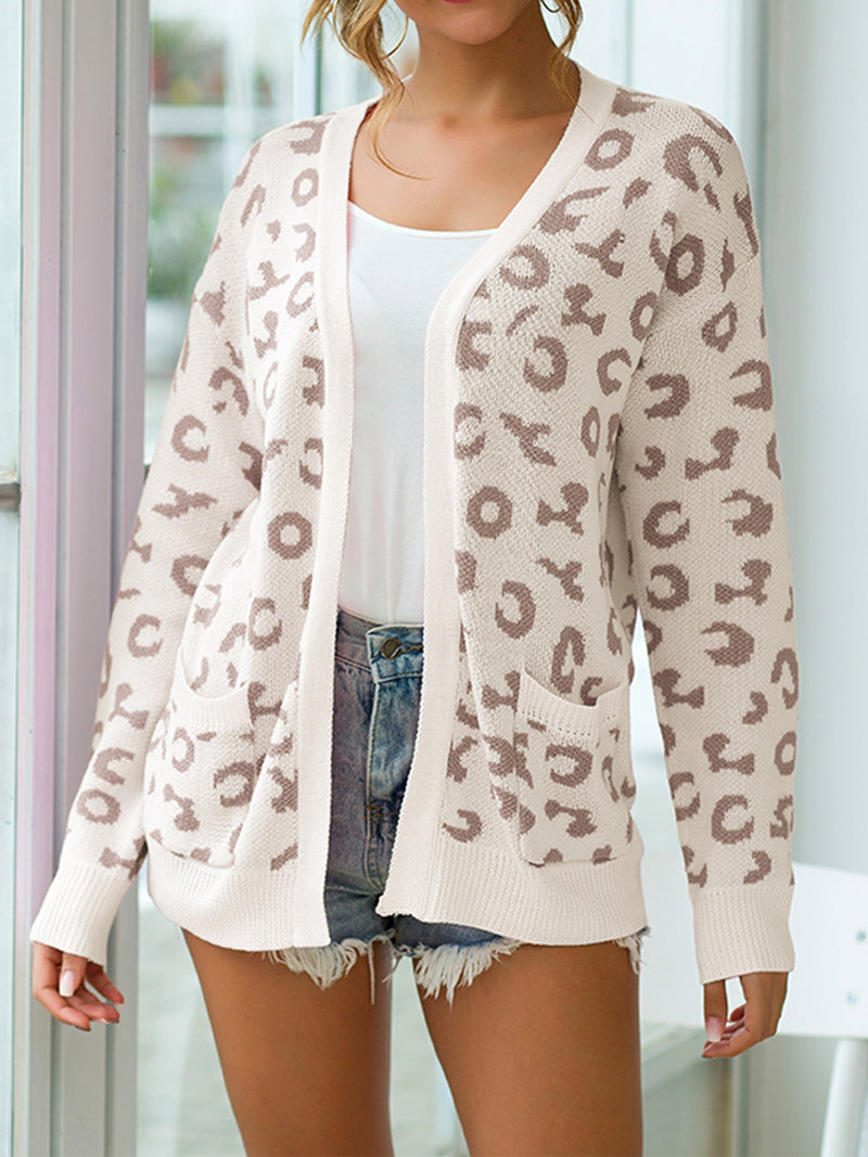 Leopard Print Long Sleeve Knitted Cardigans