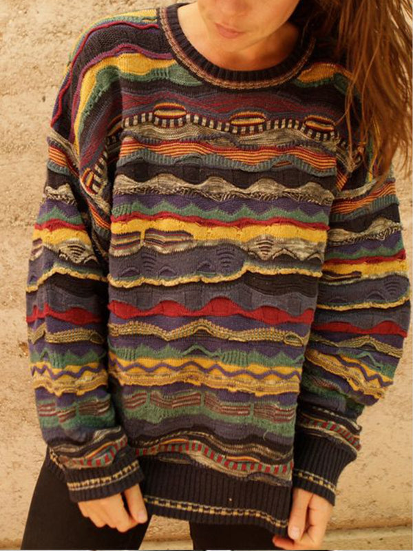 Stripes Shift Long Sleeve Crochet-Trimmed Sweater