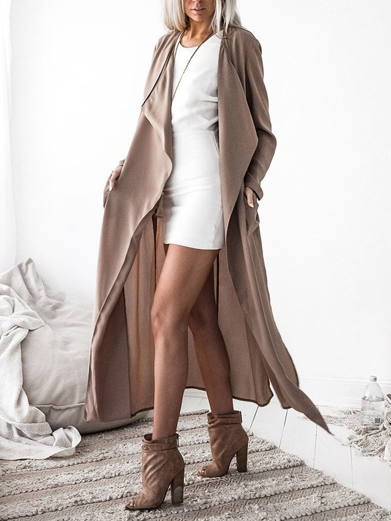 Modal Solid Shawl Collar Long Sleeve Trench Coats