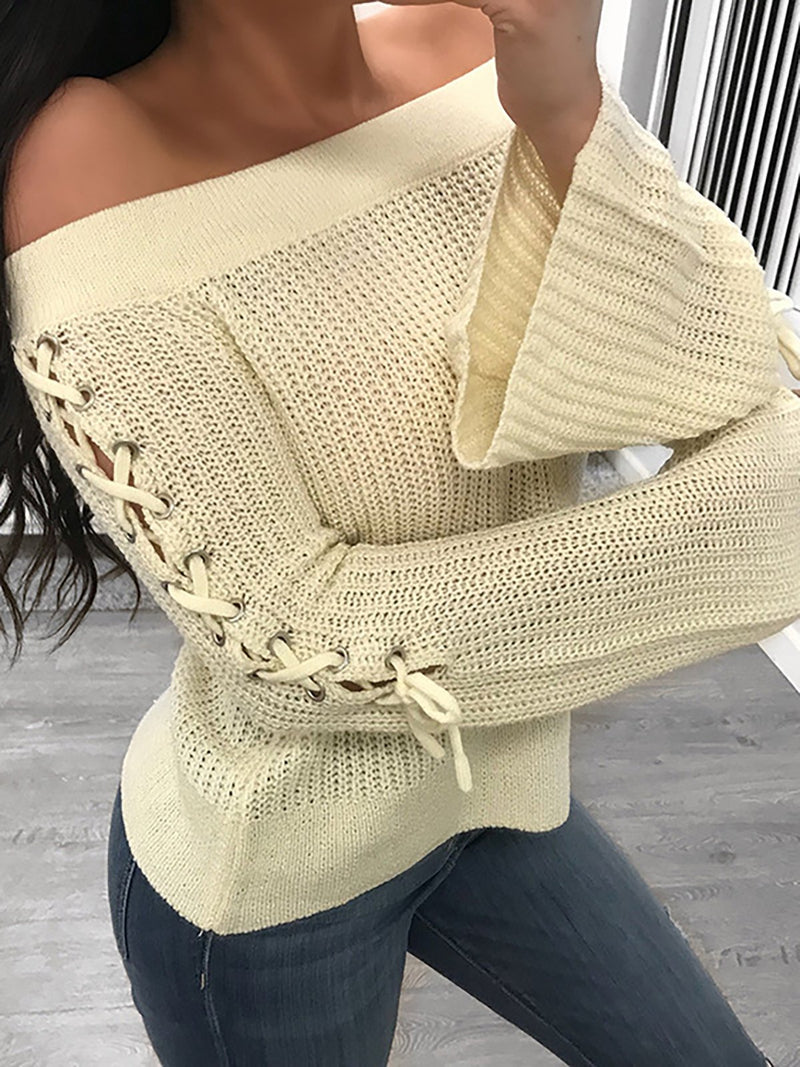 Cream Sexy Cold Shoulder Solid Acrylic Sweater