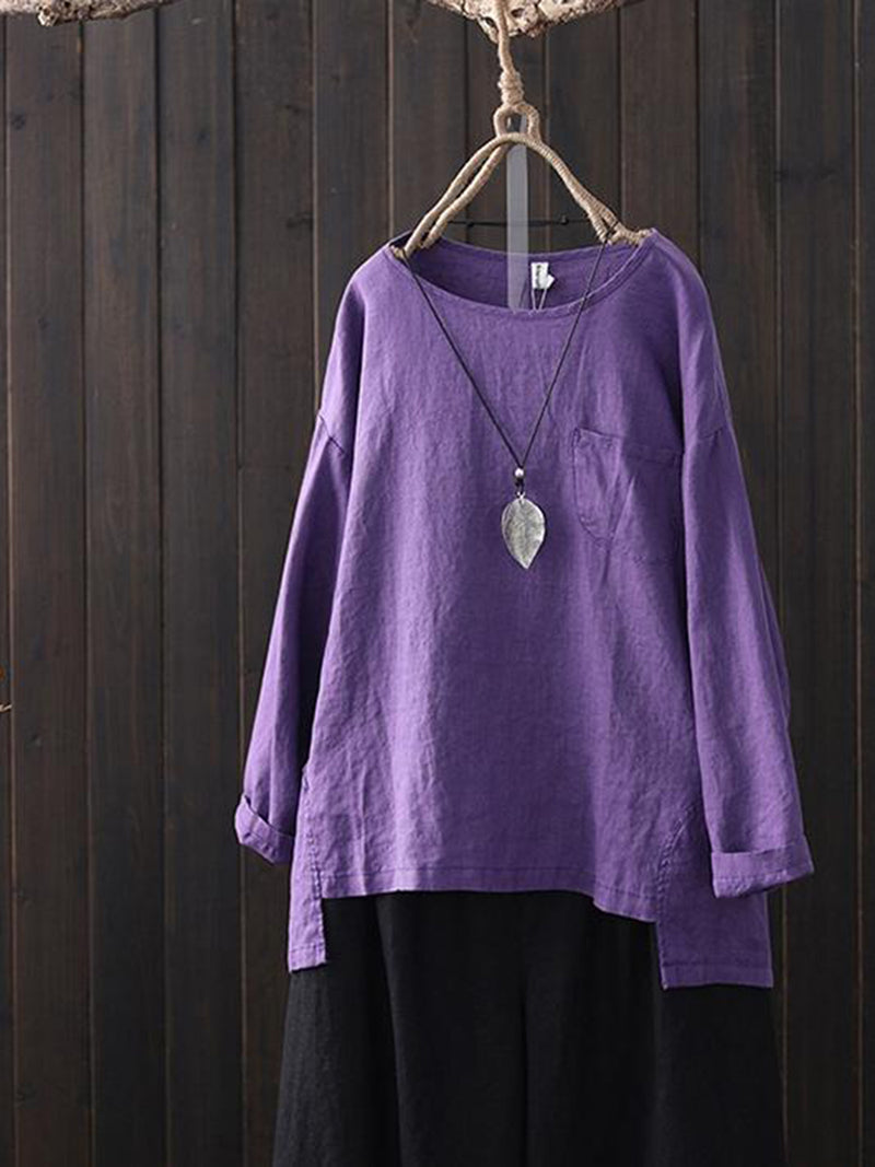 Asymmetric Long Sleeve Pocket Solid Plus Size T-Shirt