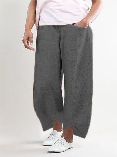 Solid Cotton-Blend Pockets Pants