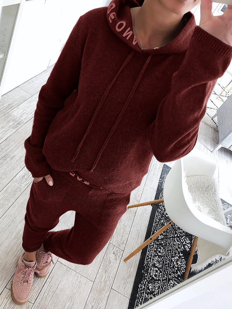 Letter Printed Hoodies Knitted Two Pieces Pants Sets Suits