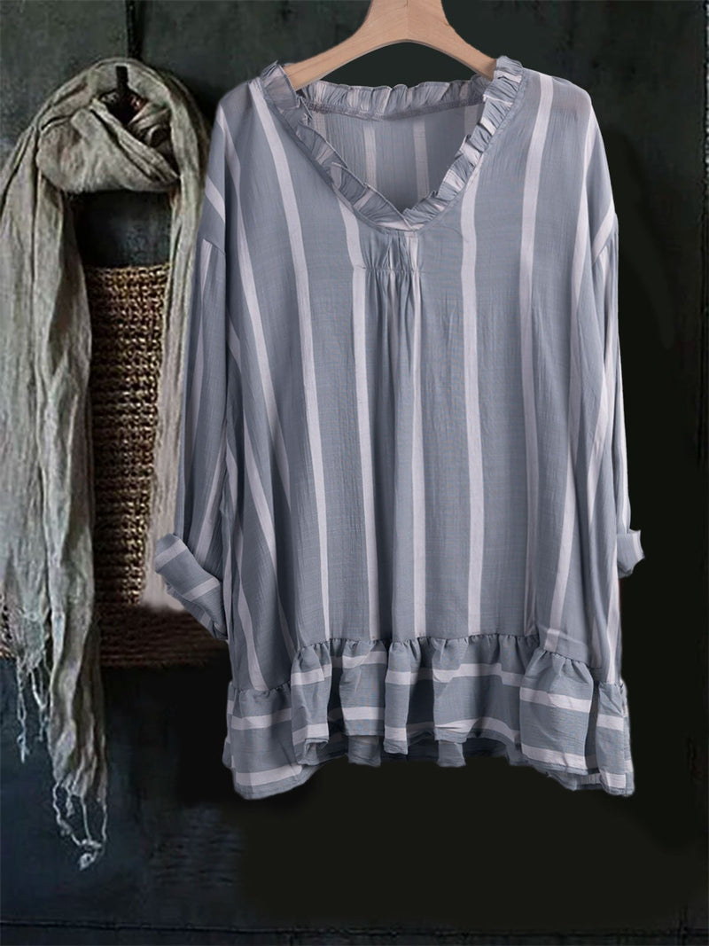 Linen Solid Long Sleeve Casual Ruched Striped Shirt