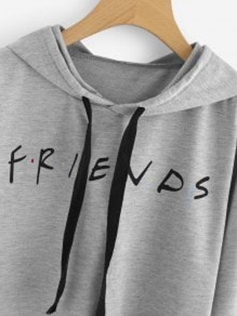 4 Colors Casual Drawstring Printed Letter Friend Pullover Short Hoodies