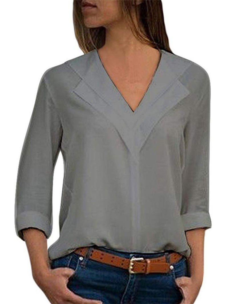 Solid Chiffon Casual Shawl Collar Blouse