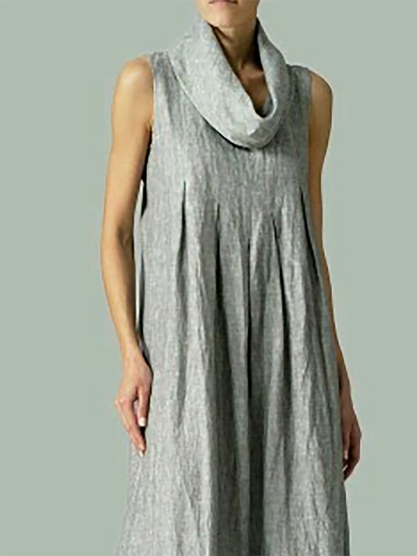 Plus Size Turtleneck Shift Solid Casual Folds Linen Sleeveless Maxi Dress